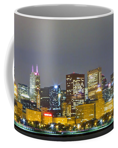 Chicago Coffee Mug featuring the photograph 0247 Chicago Skyline Panoramic by Steve Sturgill