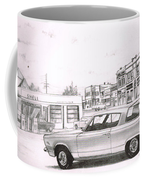 Coffee Mug featuring the drawing 035-cuda by Keith Spence