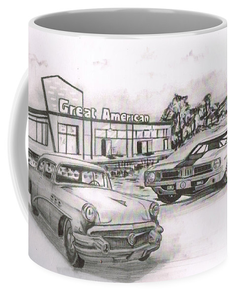 Coffee Mug featuring the drawing 040-great American by Keith Spence