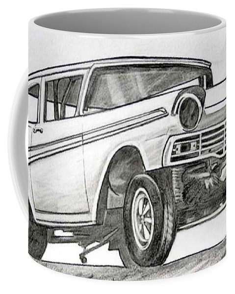 Coffee Mug featuring the drawing 066-rev It by Keith Spence