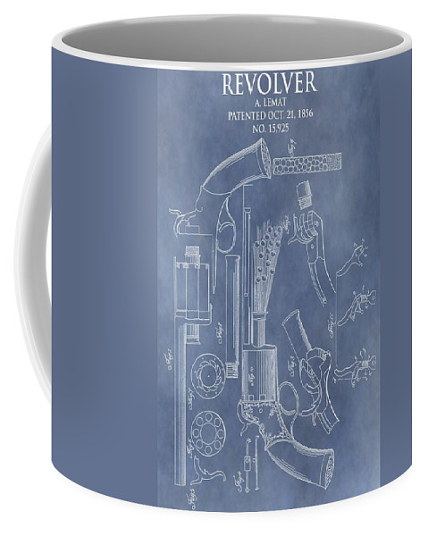 Lemat Revolver Patent Coffee Mug featuring the drawing 1856 Revolver Patent by Dan Sproul