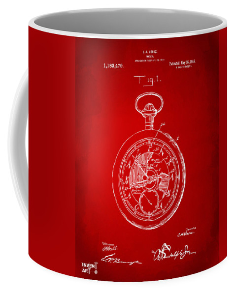 Pocket Watch Coffee Mug featuring the digital art 1916 Pocket Watch Patent Red by Nikki Marie Smith