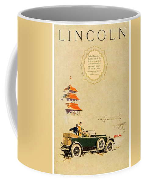 1925 Coffee Mug featuring the digital art 1925 - Lincoln Advertisement - Color by John Madison