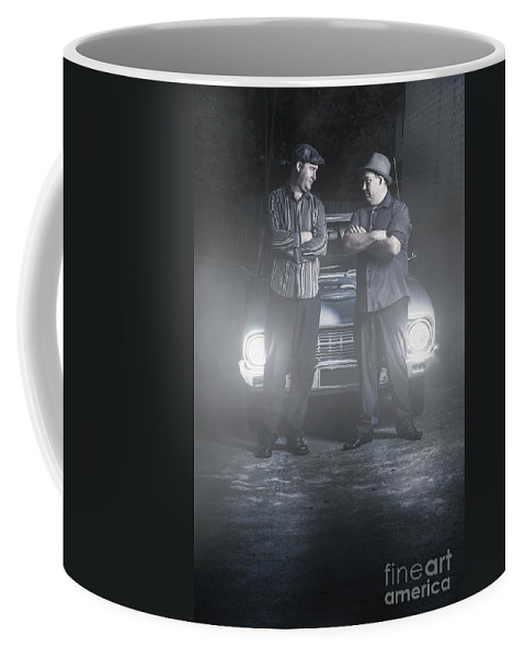 Man Coffee Mug featuring the photograph 2 Male Gangsters Meeting In Dark Alleyway by Jorgo Photography - Wall Art Gallery