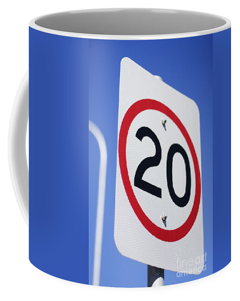 Kilometer Coffee Mug featuring the photograph 20km Road Sign by Jorgo Photography - Wall Art Gallery