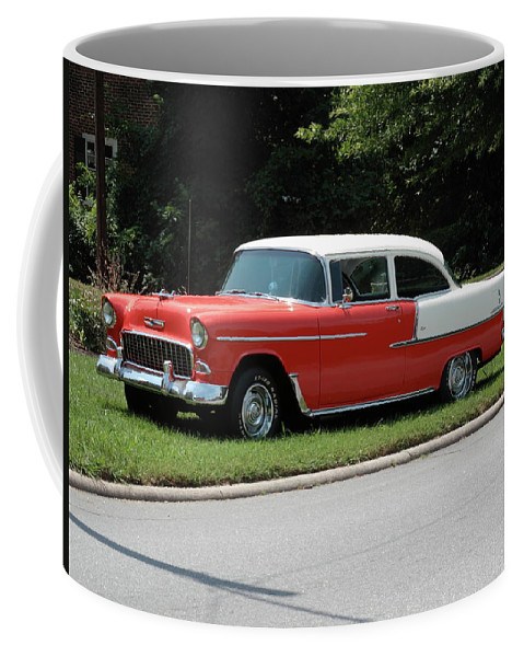 55 Coffee Mug featuring the photograph 55 Chevy by Frank Romeo