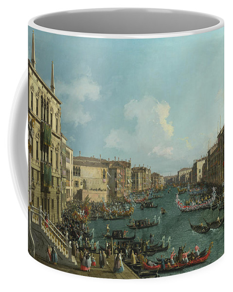 Canaletto Coffee Mug featuring the painting A Regatta On The Grand Canal by Canaletto