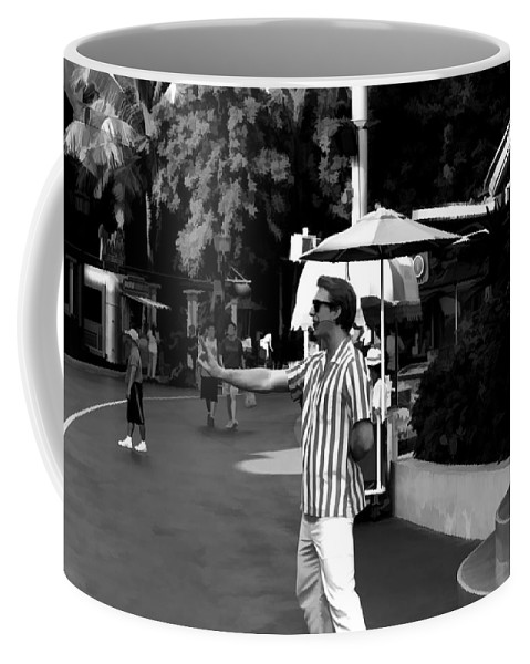Action Coffee Mug featuring the digital art A Street Entertainer In The Hollywood Section Of Universal Studios by Ashish Agarwal