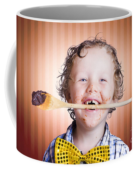 Background Coffee Mug featuring the photograph Adorable Little Boy Cooking Chocolate Easter Cake by Jorgo Photography - Wall Art Gallery