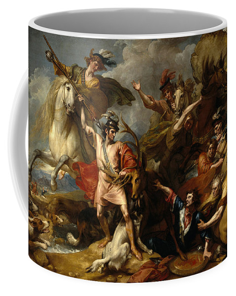 Benjamin West Coffee Mug featuring the painting Alexander IIi Of Scotland Rescued From The Fury Of A Stag By The Intrepidity Of Colin Fitzgerald by Benjamin West