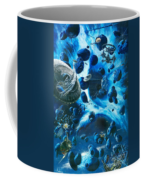 Asteroid Coffee Mug featuring the painting Alien Pirates by Murphy Elliott