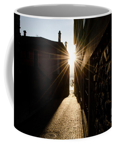 Alley Coffee Mug featuring the photograph Alley In Backlight by Mats Silvan