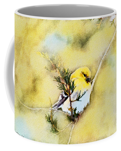Branch Coffee Mug featuring the photograph American Goldfinch - Digital Paint by Debbie Portwood