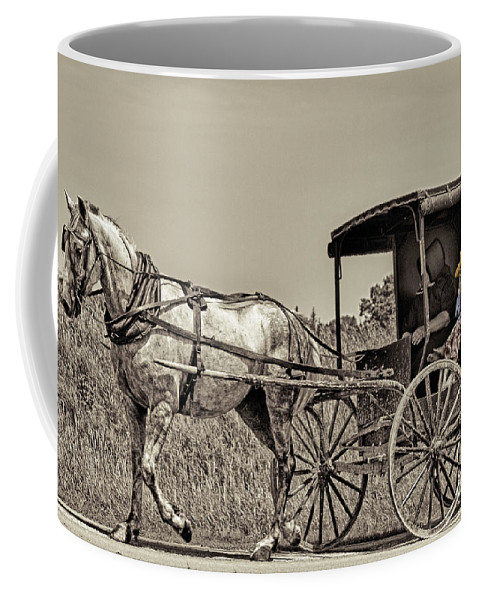 Horse Coffee Mug featuring the photograph Amish Boy Tips Hat by Robert Frederick