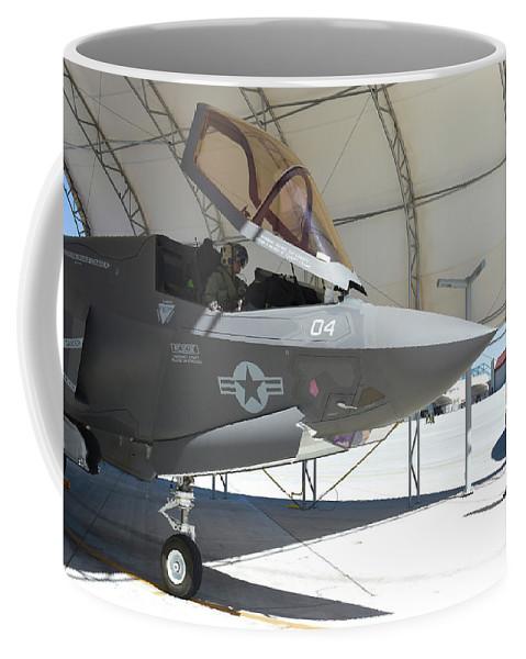 Marine Corps Air Station Yuma Coffee Mug featuring the photograph An F-35b Lightning II During Preflight by Riccardo Niccoli