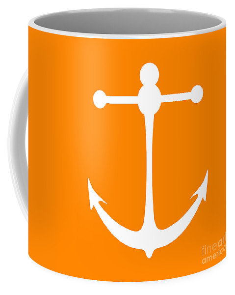 Graphic Art Coffee Mug featuring the digital art Anchor In Orange And White by Jackie Farnsworth