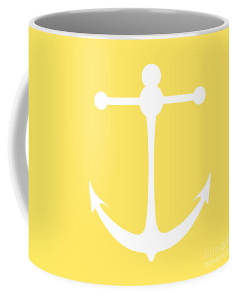 Graphic Art Coffee Mug featuring the digital art Anchor In Yellow And White by Jackie Farnsworth