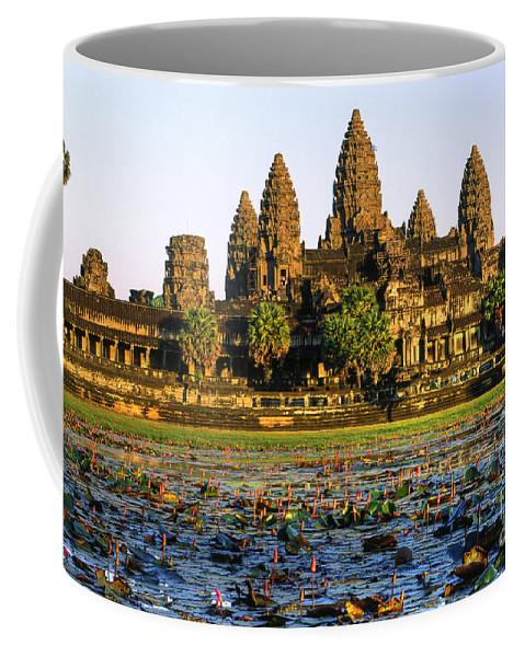 Ancient Coffee Mug featuring the photograph Angkor Wat At Sunset - Cambodia by Luciano Mortula