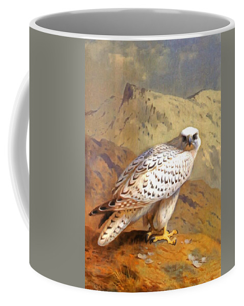 Archibald Thorburn Coffee Mug featuring the painting Greenland Falcon by Archibald Thorburn