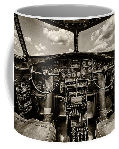 B17 Coffee Mug featuring the photograph Cockpit Of A B-17 by Mike Burgquist