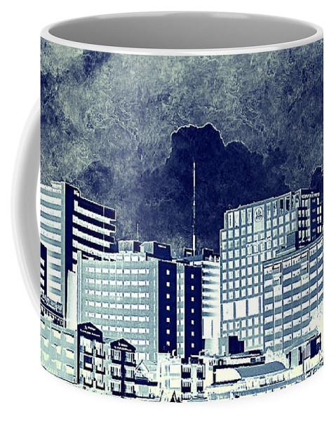 City Life Coffee Mug featuring the mixed media Bangkok Panorama by Heike Hultsch