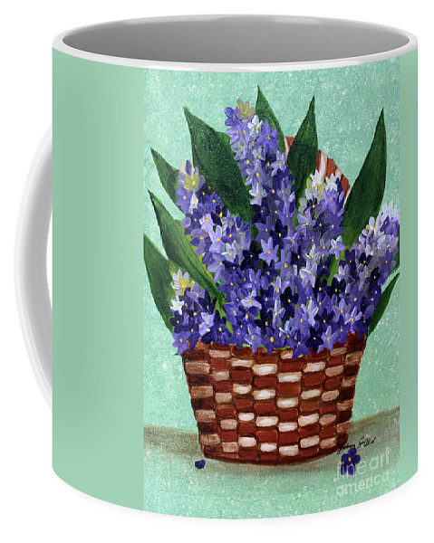 Barbara Griffin Coffee Mug featuring the painting Basket Of Hyacinths by Barbara Griffin