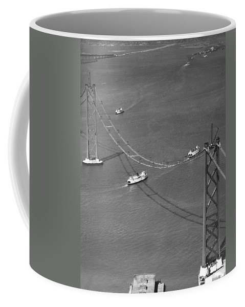 1935 Coffee Mug featuring the photograph Bay Bridge Under Construction by Charles Hiller