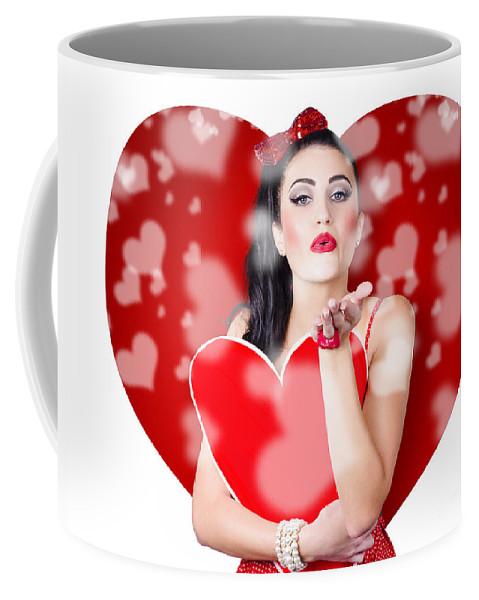Kiss Coffee Mug featuring the photograph Beautiful Girl In A Bright Love Romance by Jorgo Photography - Wall Art Gallery