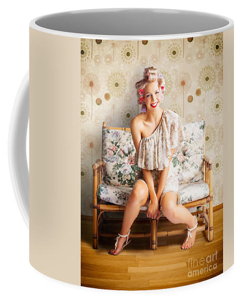 Adult Coffee Mug featuring the photograph Beautiful Woman Getting New Hair Style At Salon by Jorgo Photography - Wall Art Gallery
