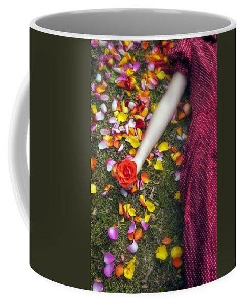 Woman Coffee Mug featuring the photograph Bedded In Petals by Joana Kruse