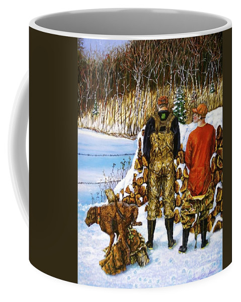 Hunters Coffee Mug featuring the painting Behind The Wood Pile  by Linda Simon