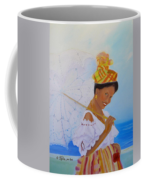Caribbean Coffee Mug featuring the painting Belle Creole by KCatia Creole Art