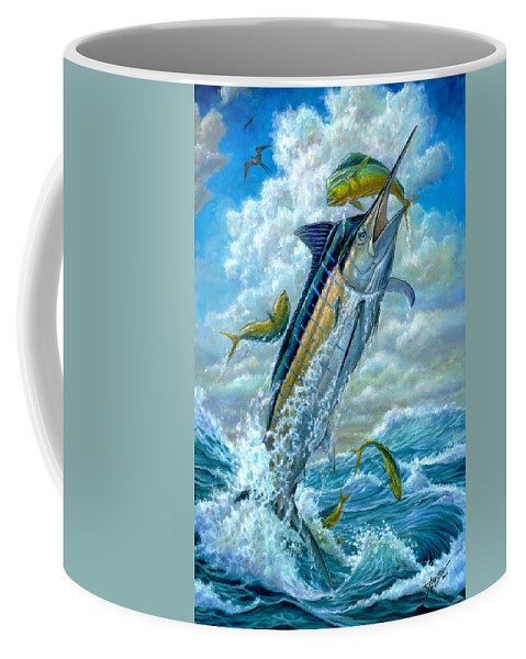Blue Marlin Coffee Mug featuring the painting Big Jump Blue Marlin With Mahi Mahi by Terry Fox