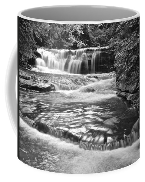 Black Coffee Mug featuring the photograph Black And White Cascade by Frozen in Time Fine Art Photography