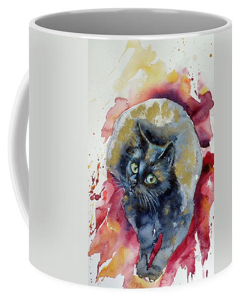 Black Coffee Mug featuring the painting Black Cat In Gold by Kovacs Anna Brigitta