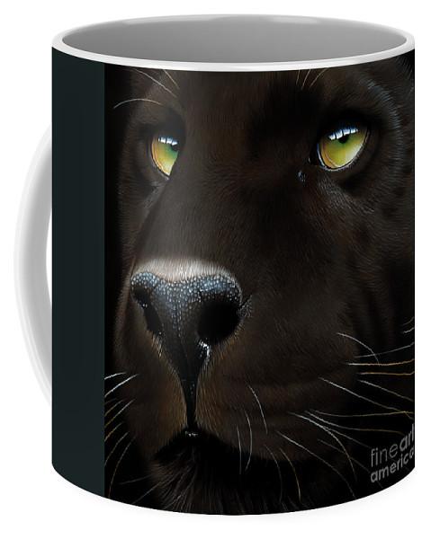 Black Panther Coffee Mug featuring the painting Black Leopard by Jurek Zamoyski