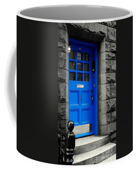 Blue Coffee Mug featuring the photograph Blue Door by Lilliana Mendez