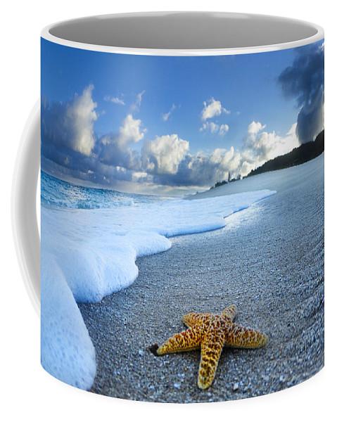 Surreal Coffee Mug featuring the photograph Blue Foam Starfish by Sean Davey