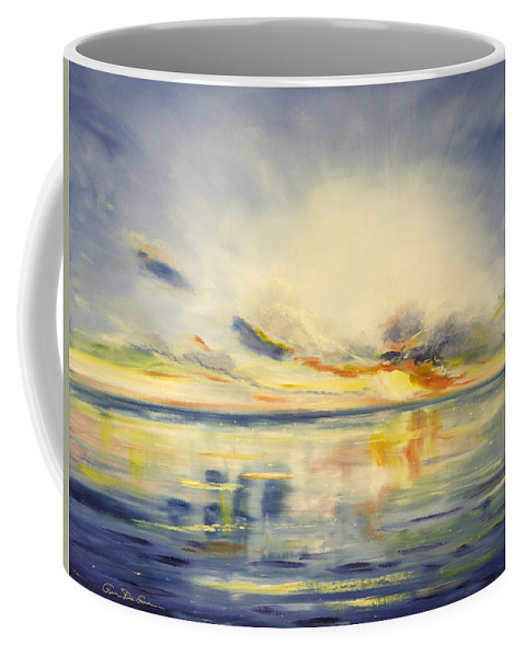 Blue Coffee Mug featuring the painting Blue Sunset by Gina De Gorna
