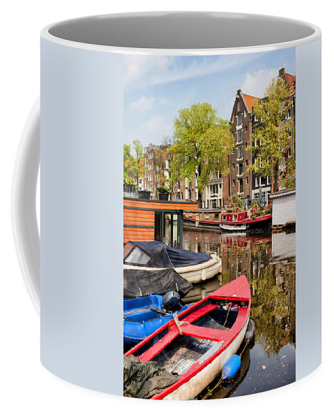 Amsterdam Coffee Mug featuring the photograph Boats On Canal In Amsterdam by Artur Bogacki