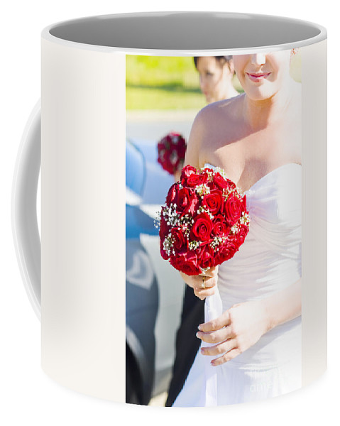 Bright Coffee Mug featuring the photograph Bride Holding Red Rose Flower Bunch by Jorgo Photography - Wall Art Gallery