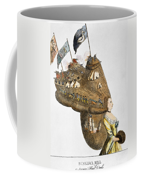 1776 Coffee Mug featuring the photograph Bunker Hill: Cartoon, 1776 by Granger