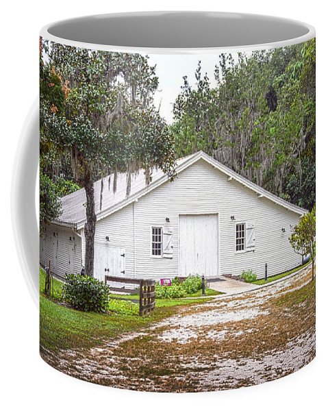 Surrounded By Lush Green Trees And Bushes Coffee Mug featuring the photograph Carriage House by Judy Hall-Folde