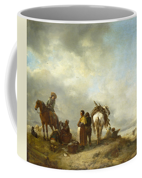 Philips Wouwerman Coffee Mug featuring the painting Seashore With Fishwives Offering Fish by Philips Wouwerman