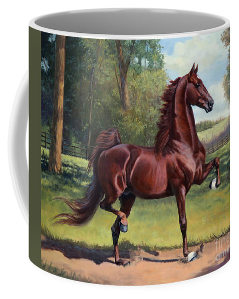American Saddlebred Coffee Mug featuring the painting Ch. Merchant Prince by Jeanne Newton Schoborg