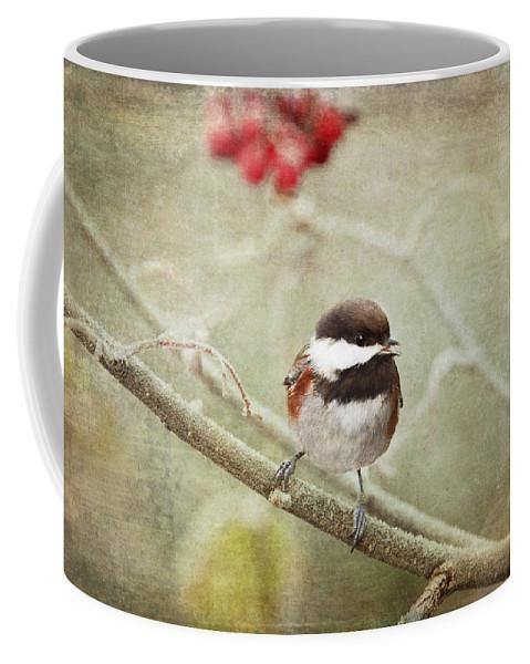Chickadee Coffee Mug featuring the photograph Chickadee In Winter by Peggy Collins