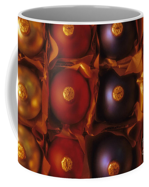 Celebration Coffee Mug featuring the photograph Christmas Ornaments In Box by Jim Corwin