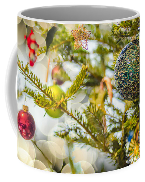And Coffee Mug featuring the photograph Christmas Tree Ornaments And Decorations by Alex Grichenko