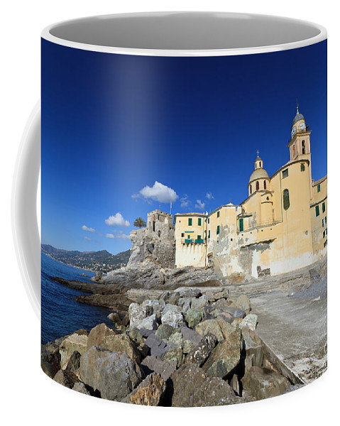 Ancient Coffee Mug featuring the photograph church in Camogli by Antonio Scarpi