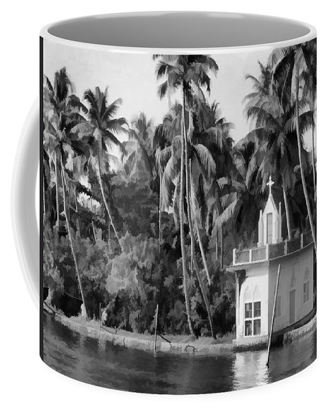 Building Coffee Mug featuring the digital art Church Located Next To A Canal by Ashish Agarwal